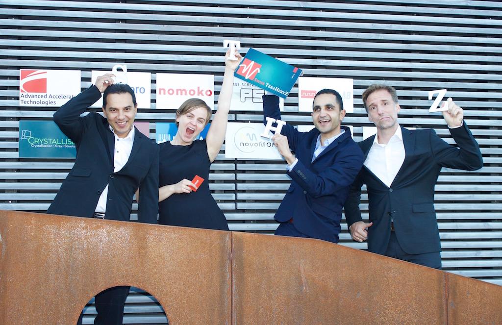 Swiss Terahertz dream team: Dr. Gustavo Santiso-Quiñones (Crystallise! AG), Corinne Brodeur, Dr. Mostafa Shalaby, and Dr. Gunther Steinfeld (Crystallise! AG)