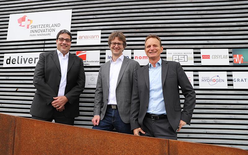 (r to l) Dr. Christian Grünzweig (CEO ANAXAM), Prof. Dr. Frithjof Nolting (President ANAXAM), Dr. Benno Rechsteiner (CEO Park Innovaare)